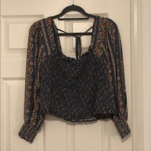 American Eagle Smocked Cropped Floral Blouse